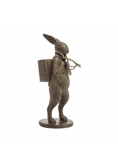 Warm Design Sırtında Sepetli Tavşan Dekoratif Obje Kahve